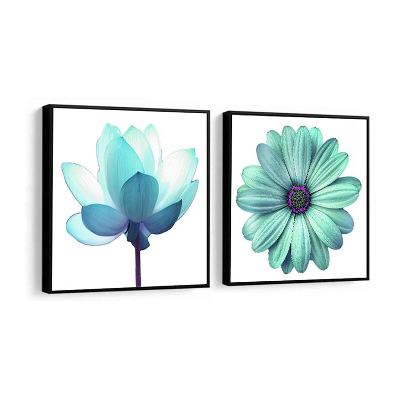 Conjunto 2 Quadros Decorativos Flores Tons De Azul