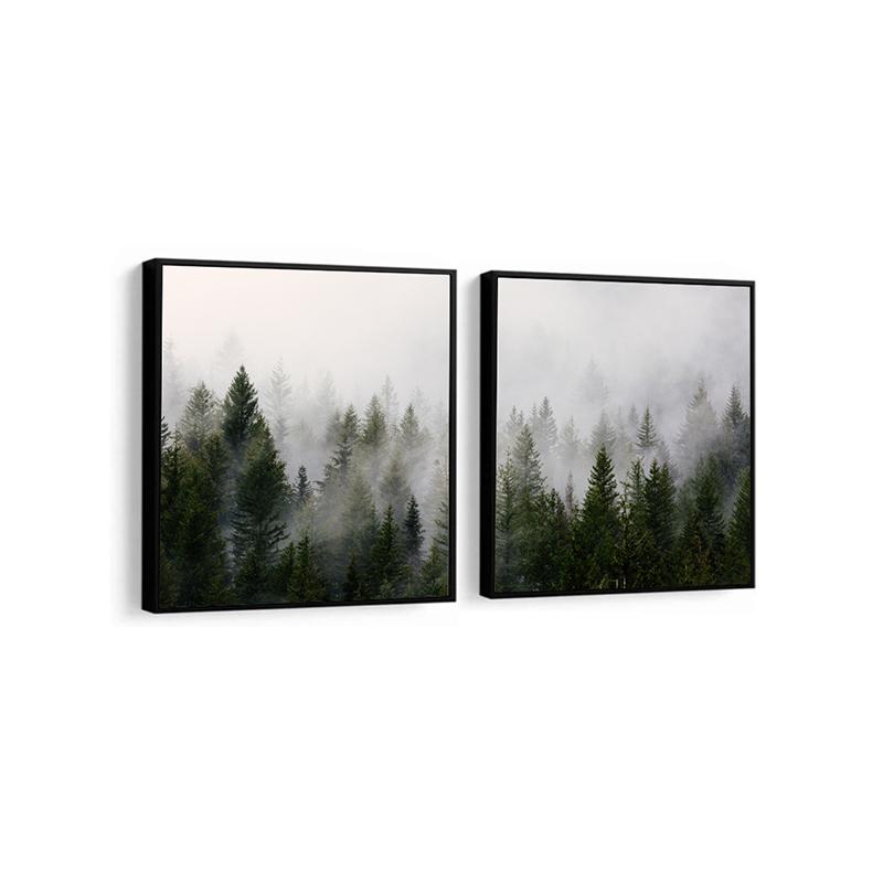Conjunto 2 Quadros Decorativos Floresta Enevoada