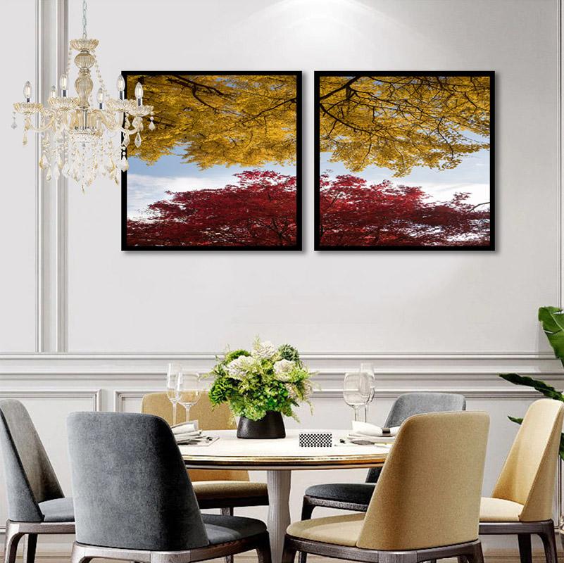 Conjunto 2 Quadros Decorativos Folhas Vermelhas e Amarelas