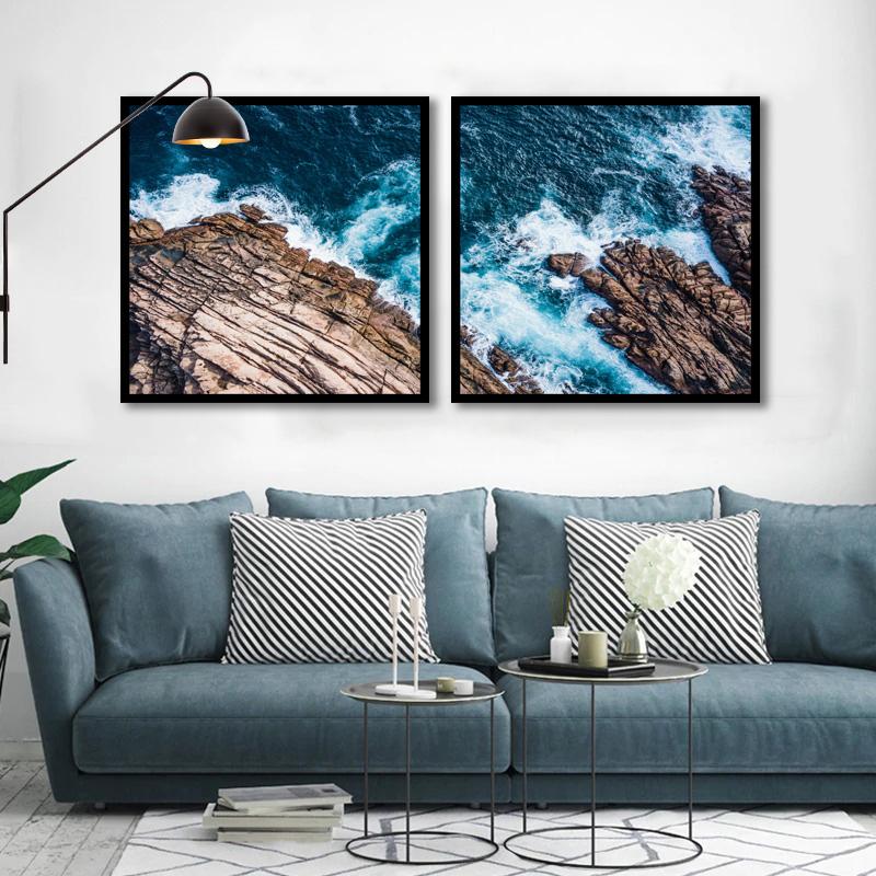 Conjunto 2 Quadros Decorativos Mar e Rochedo