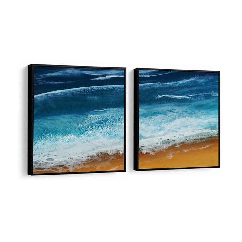 Conjunto 2 Quadros Decorativos Oceano e Areia