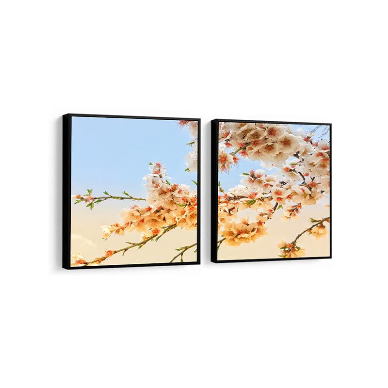 Conjunto 2 Quadros Decorativos Ramo De Flores
