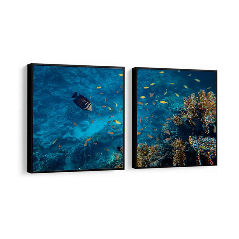 Conjunto 2 Quadros Decorativos Mar e Peixes