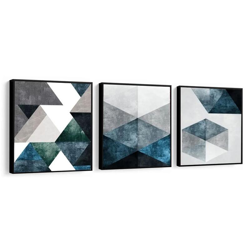 Conjunto 3 Quadros Decorativos 58x58 Cm Abstrato Tons Azul
