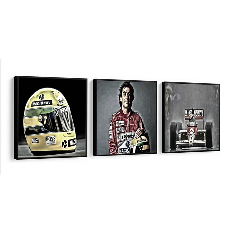 Conjunto 3 Quadros Decorativos 58x58 Cm Ayrton Senna
