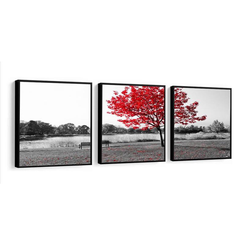 Conjunto 3 Quadros Decorativos 58x58 Cm Flores Vermelhas