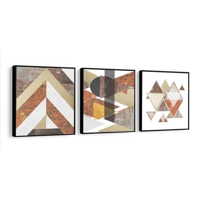 Conjunto 3 Quadros Decorativos 58x58 Cm Formas