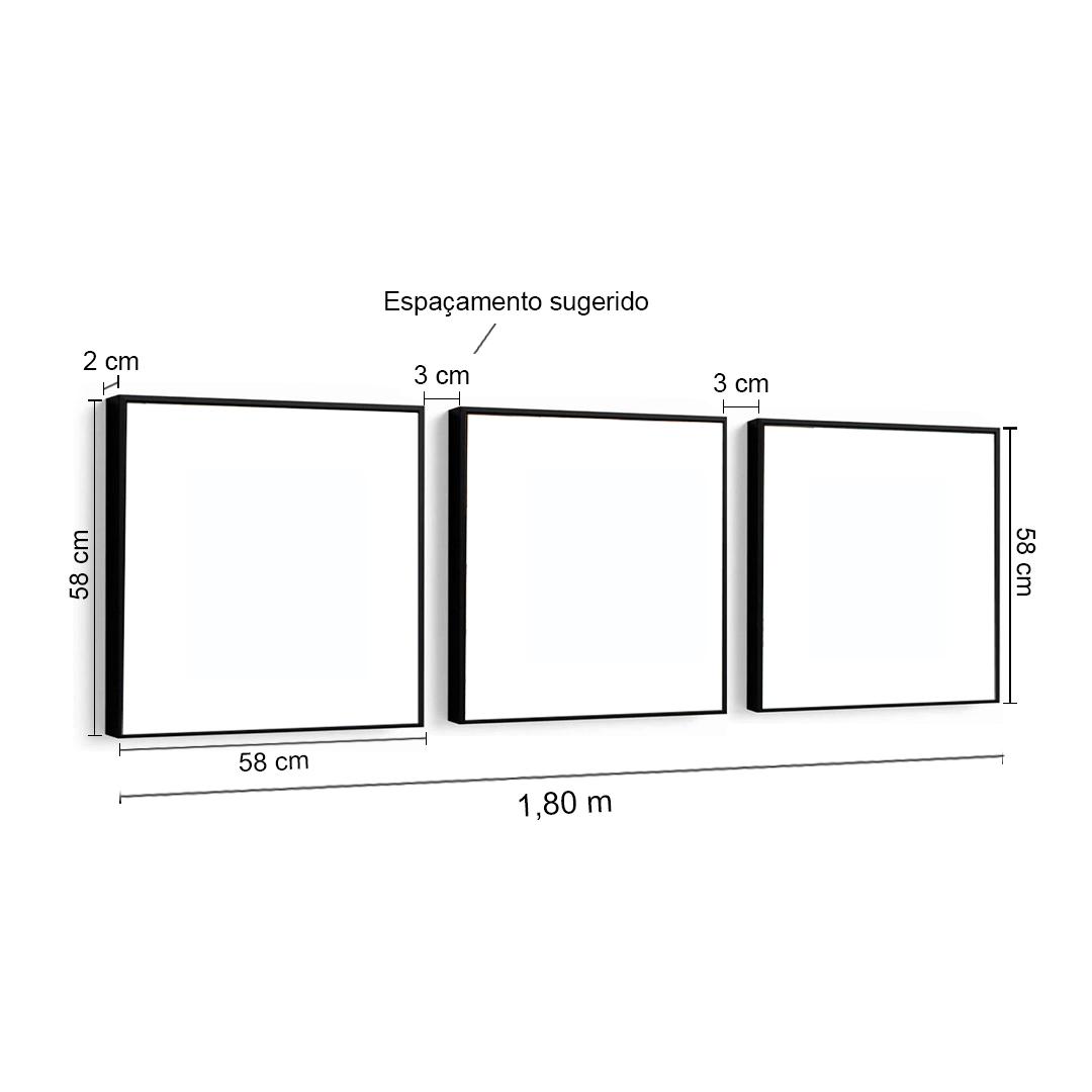 Conjunto 3 Quadros Decorativos 58x58 Cm Formas Triângulos