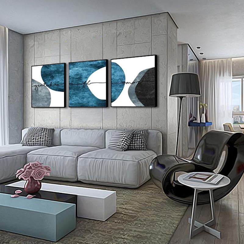 Conjunto 3 Quadros Decorativos 58x58 Cm Gratidão Tons De Azul