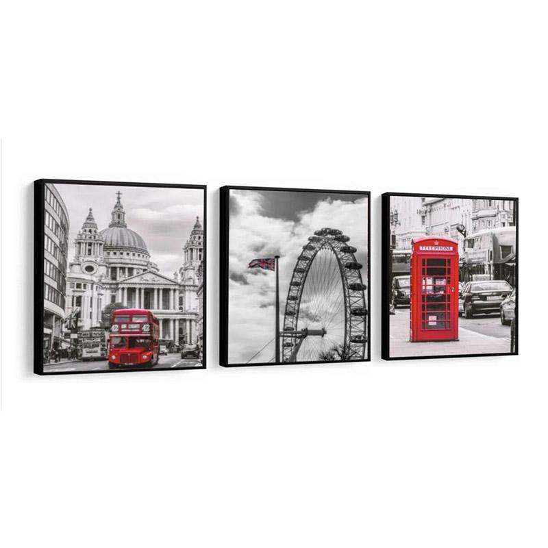 Conjunto 3 Quadros Decorativos 58x58 Cm Londres Preto, Branco e Vermelho