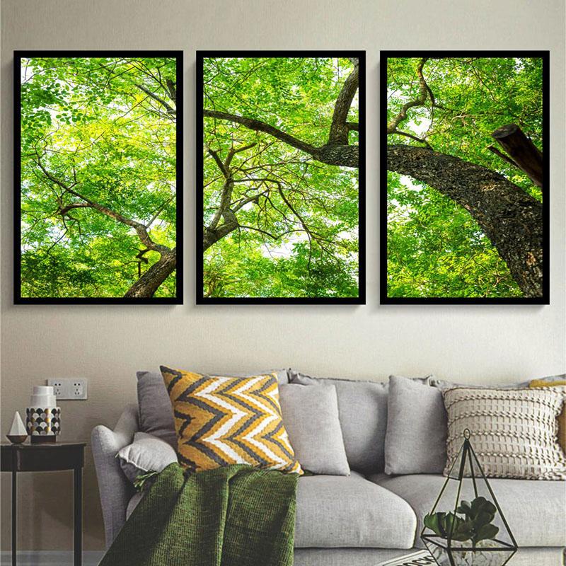 Conjunto 3 Quadros Decorativos Abstrato Árvores Verdes