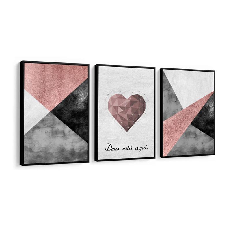 Conjunto 3 Quadros Decorativos Abstrato Com Coração Rosa