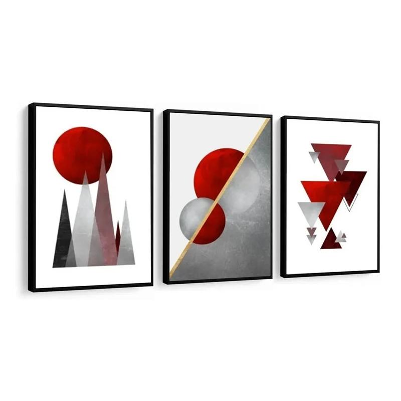 Conjunto 3 Quadros Decorativos Abstrato Com Vermelho