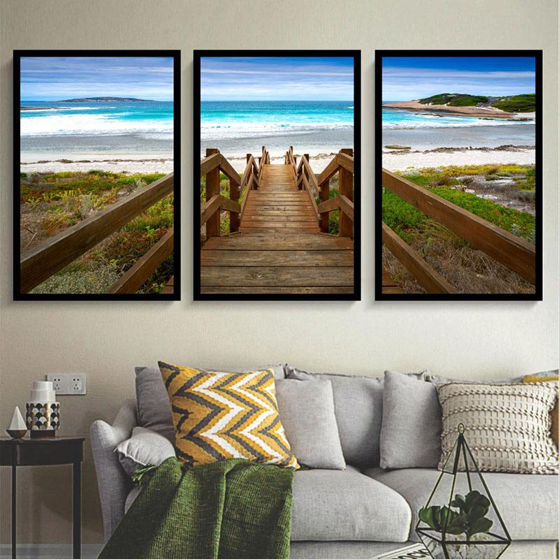 Conjunto 3 Quadros Decorativos Escadaria De Praia