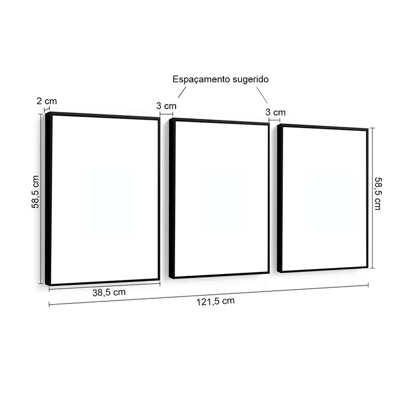 Conjunto 3 Quadros Decorativos Abstrato Geométrico