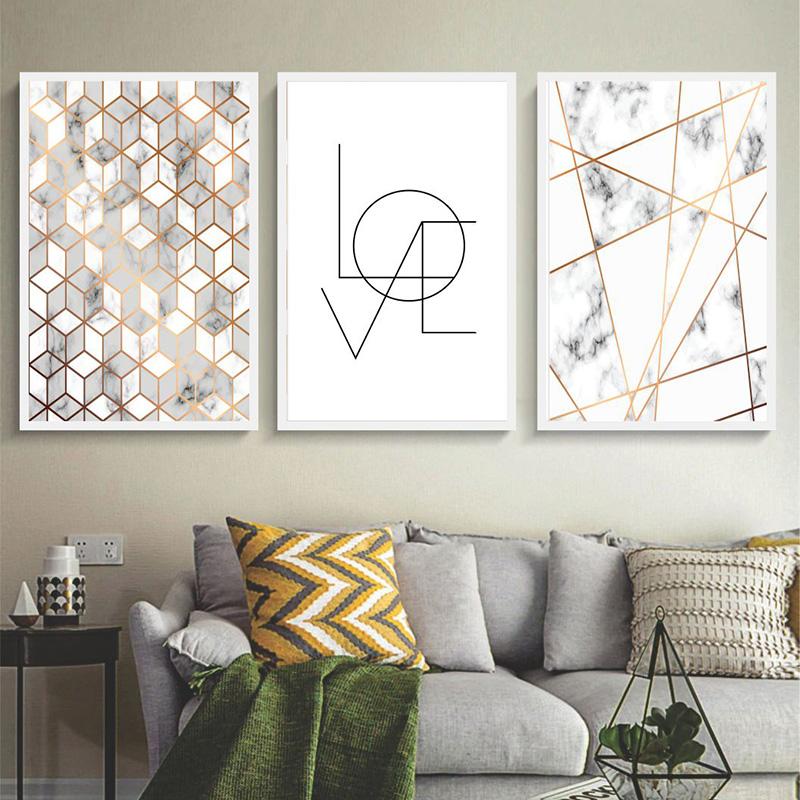 Conjunto 3 Quadros Decorativos Abstrato Love Dourado
