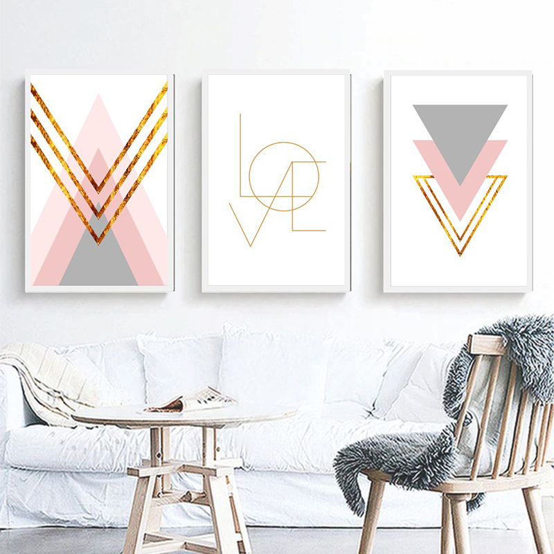 Conjunto 3 Quadros Decorativos Abstrato Love Rosa