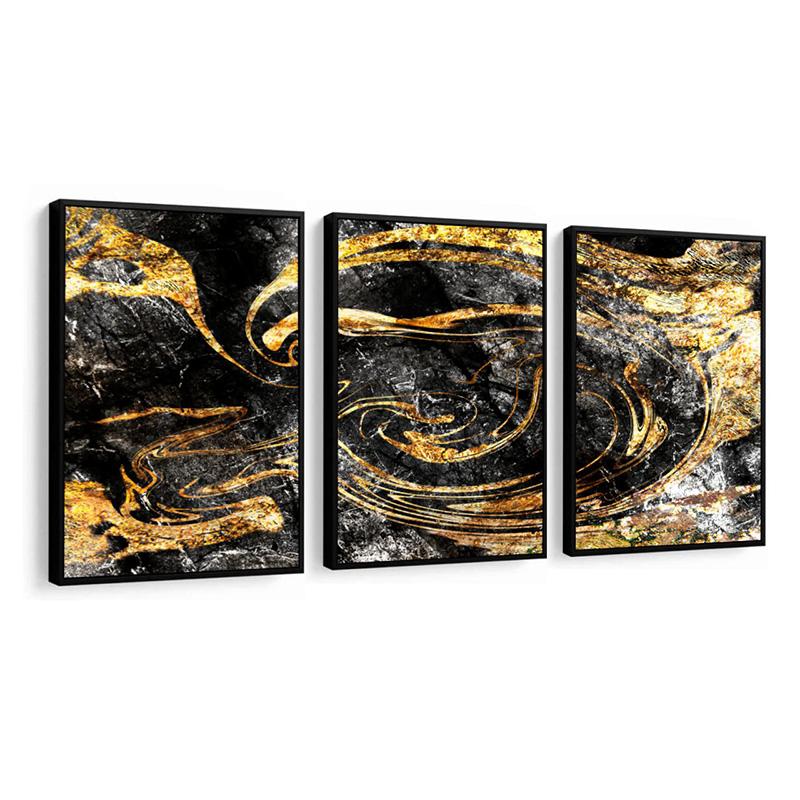 Conjunto 3 Quadros Decorativos Abstrato Preto E Dourado