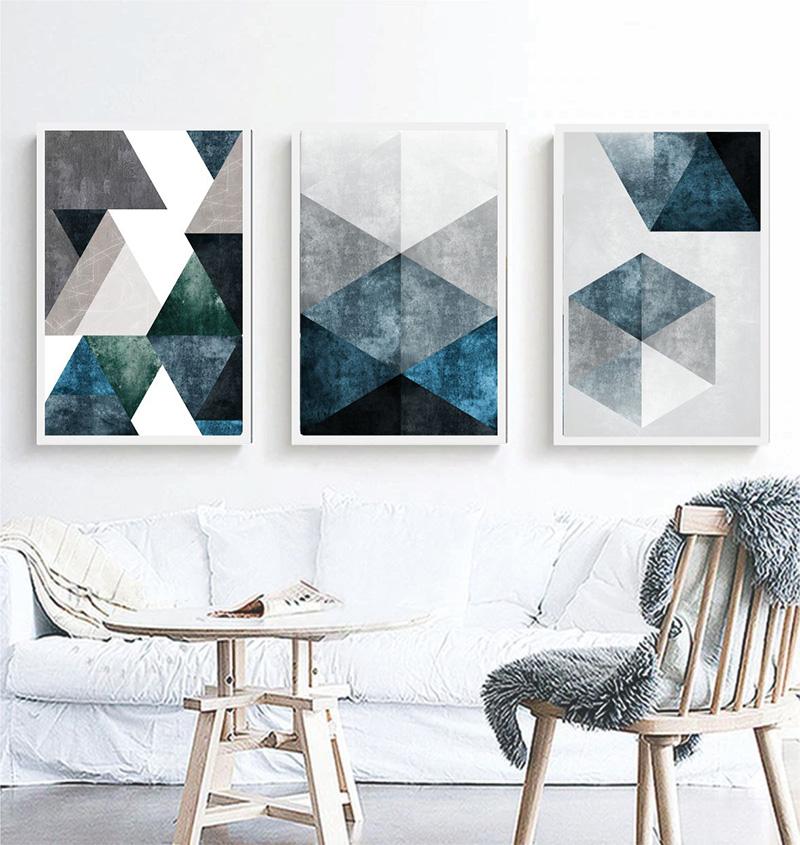 Conjunto 3 Quadros Decorativos Abstrato Tons Azul E Branco