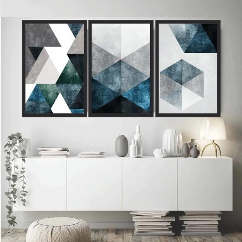 Conjunto 3 Quadros Decorativos Abstrato Tons Azul e Cinza