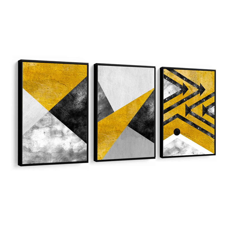 Conjunto 3 Quadros Decorativos Abstrato Tons Cinza E Amarelo