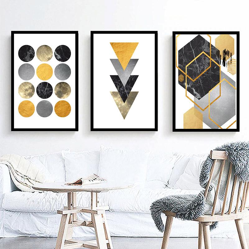 Conjunto 3 Quadros Decorativos Abstrato Tons De Amarelo