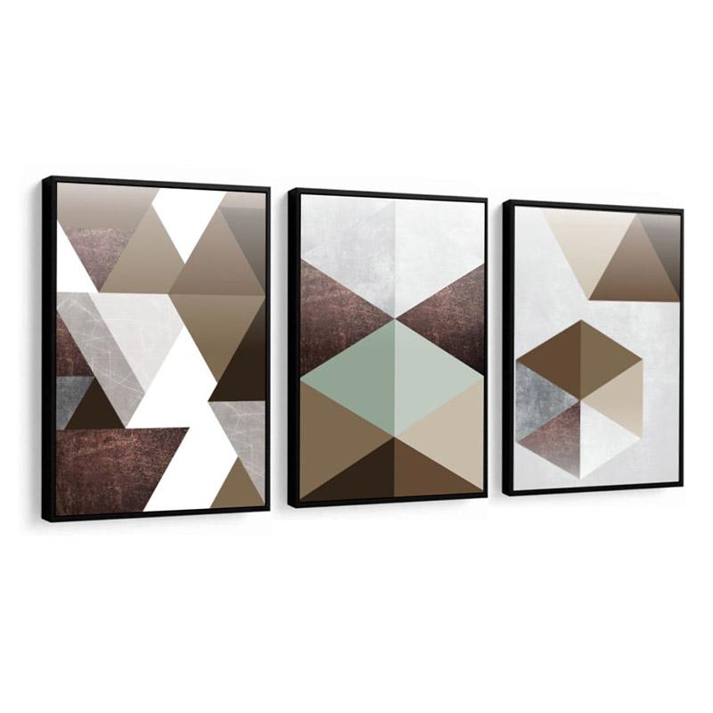 Conjunto 3 Quadros Decorativos Abstrato Tons De Marrom E Verde