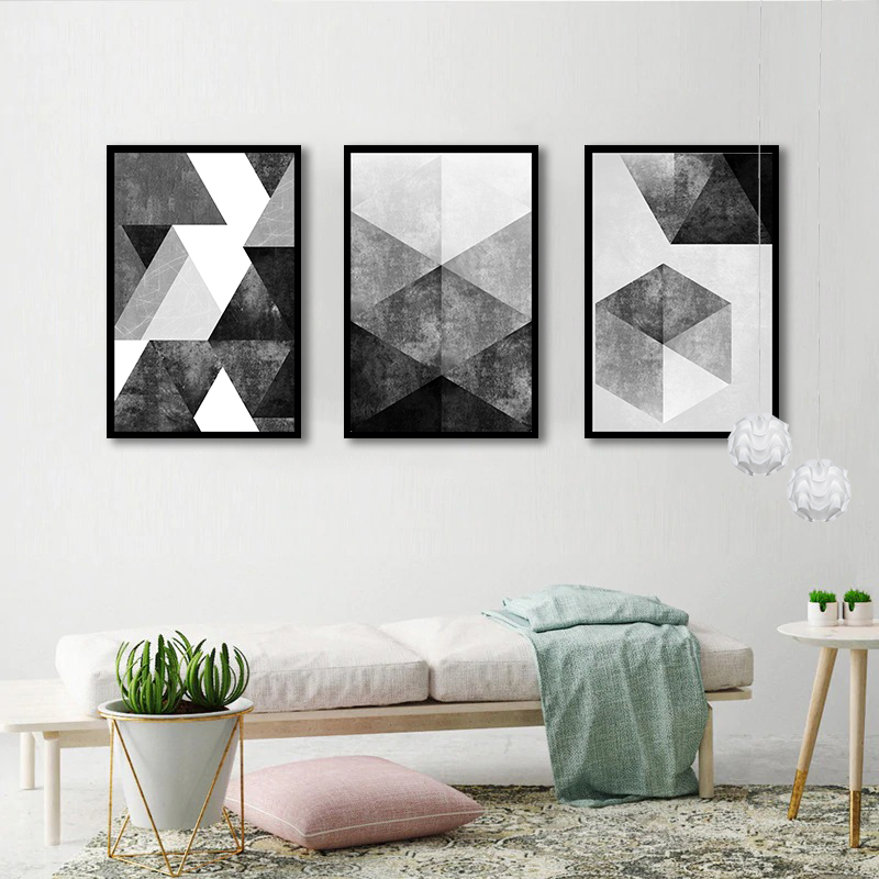 Conjunto 3 Quadros Decorativos Abstrato Tons Preto e Cinza