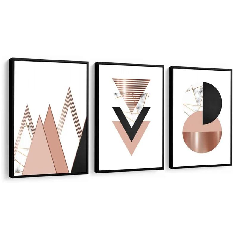 Conjunto 3 Quadros Decorativos Abstrato Tons Terrosos