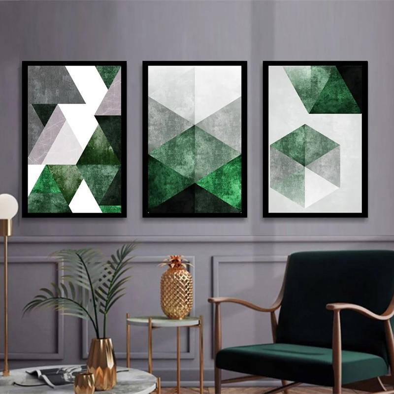 Conjunto 3 Quadros Decorativos Abstrato Tons Verde E Cinza