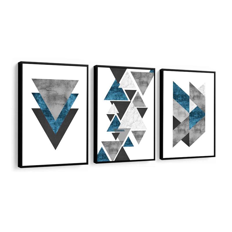 Conjunto 3 Quadros Decorativos Abstrato Triangulo Azul