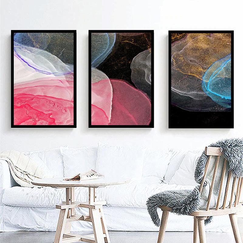 Conjunto 3 Quadros Decorativos Abstratos Rosa, Amarelo E Preto