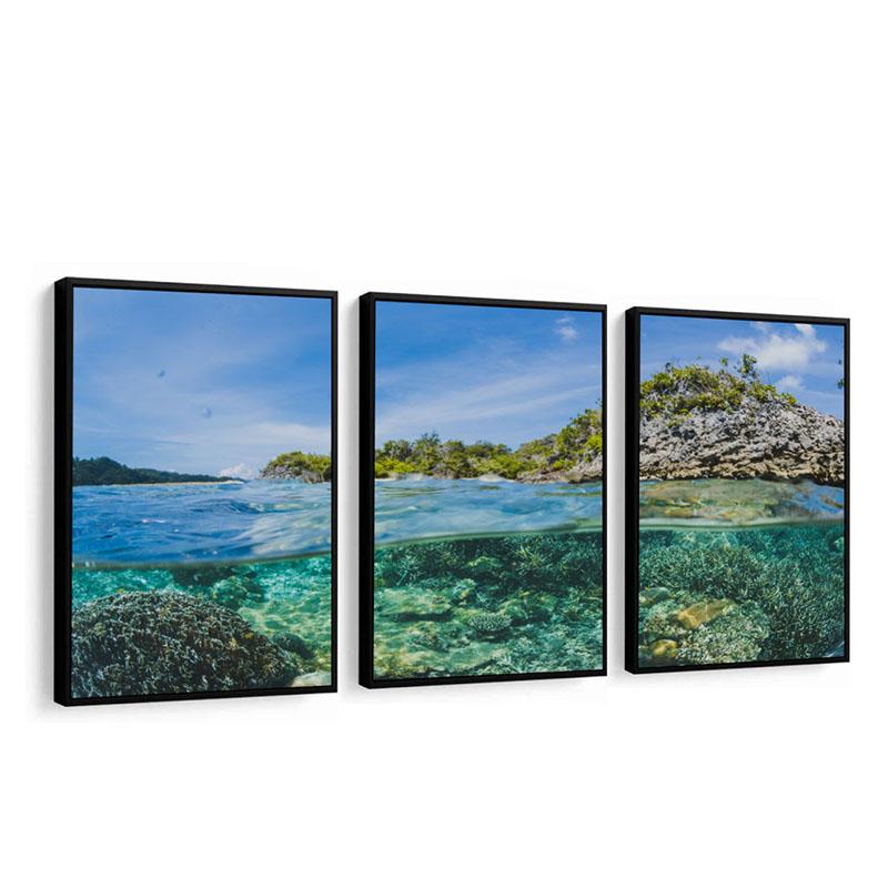 Conjunto 3 Quadros Decorativos Águas Transparentes