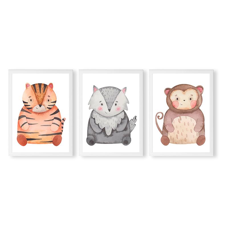 Conjunto 3 Quadros Decorativos Animais