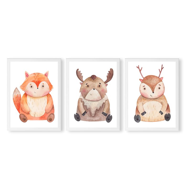 Conjunto 3 Quadros Decorativos Animais Babys 10