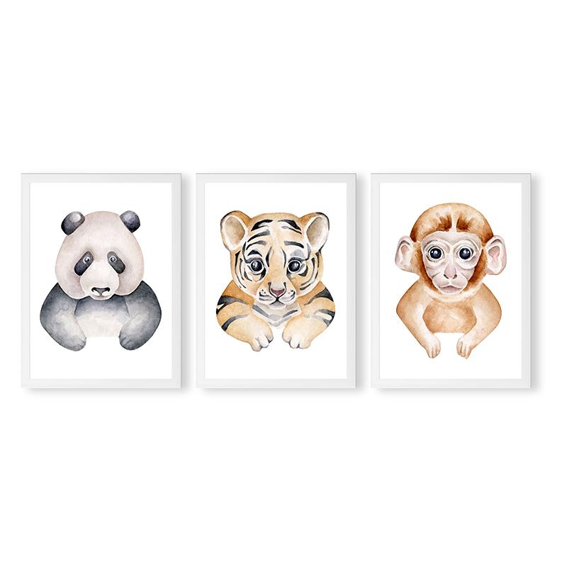 Conjunto 3 Quadros Decorativos Animais Babys 09