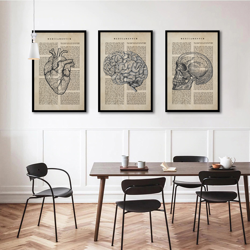 Conjunto 3 Quadros Decorativos Cérebro e Coração