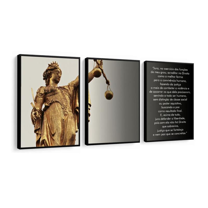 Conjunto 3 Quadros Decorativos Deusa Da Justiça