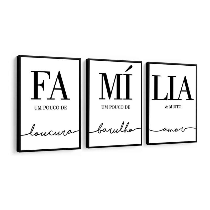 Conjunto 3 Quadros Decorativos Família Preto E Branco