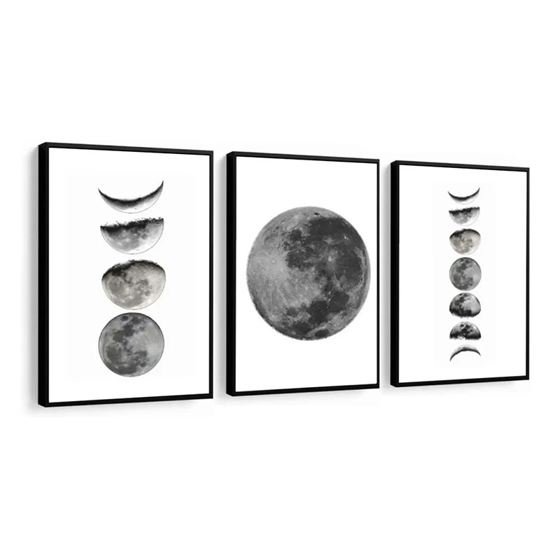 Conjunto 3 Quadros Decorativos Fases Da Lua