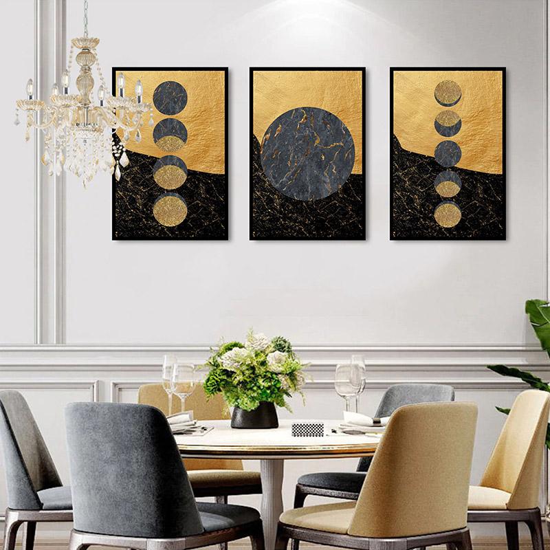 Conjunto 3 Quadros Decorativos Fases Da Lua Dourado e Preto