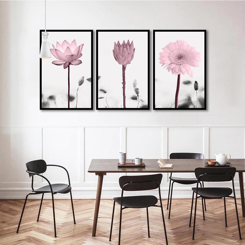 Conjunto 3 Quadros Decorativos Flores Rosa