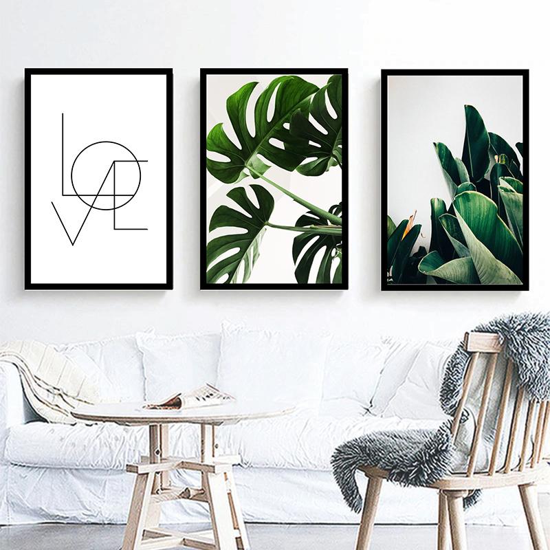Conjunto 3 Quadros Decorativos Folhagem e Love