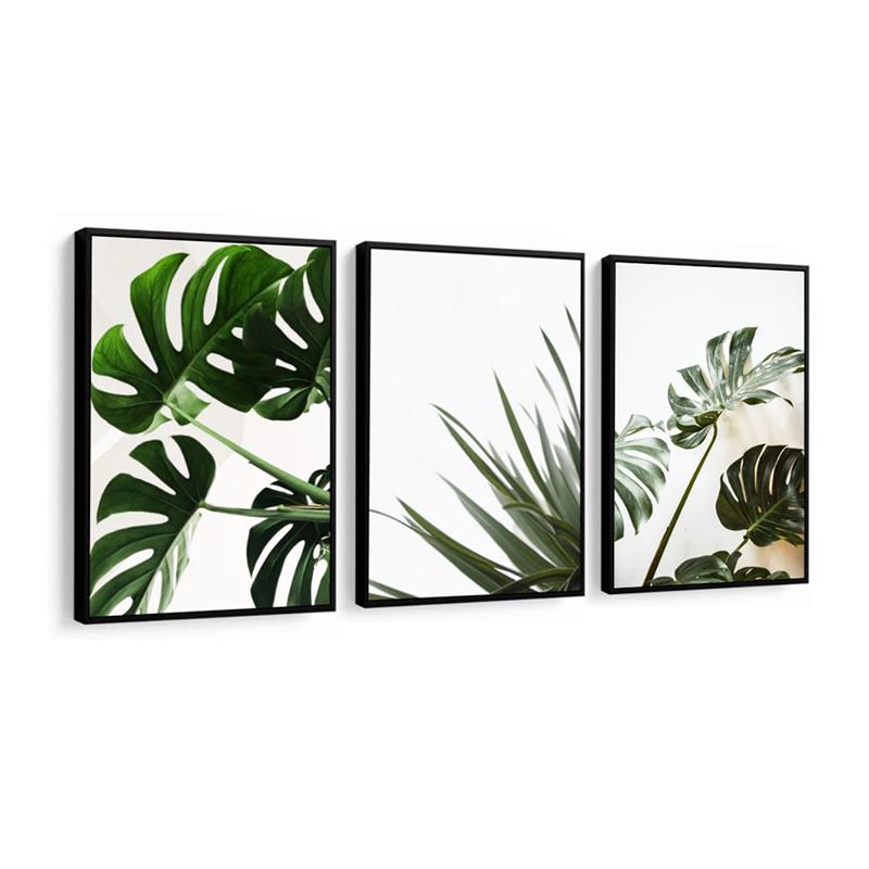 Conjunto 3 Quadros Decorativos Folhas e Flores