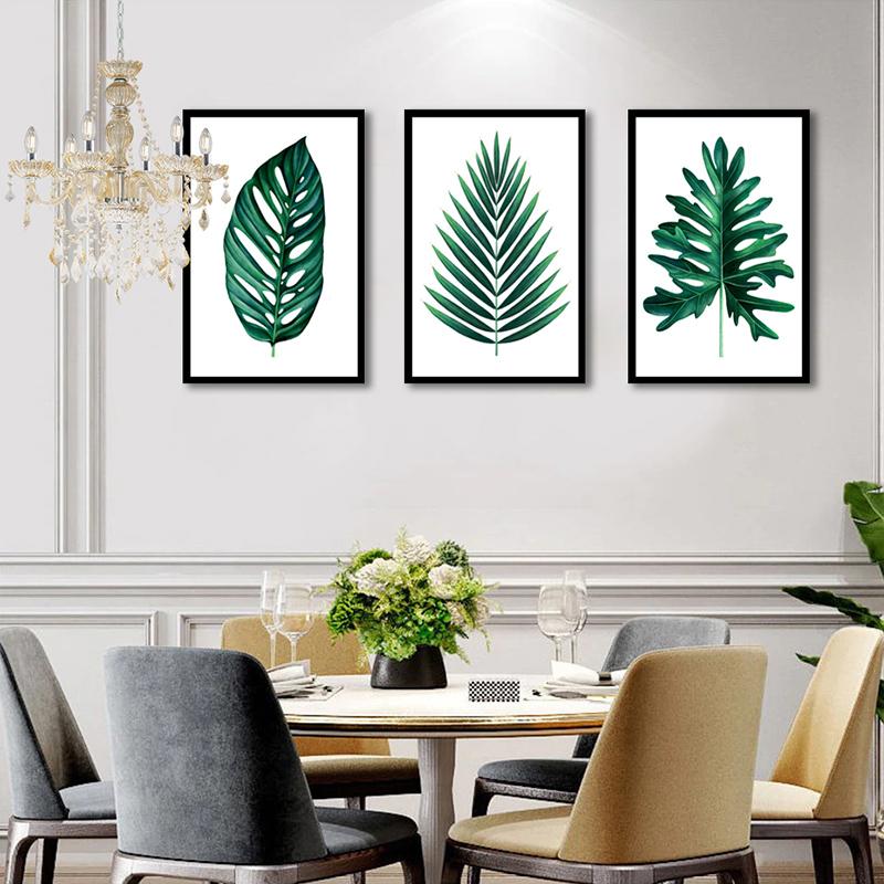 Conjunto 3 Quadros Decorativos Folhas Verdes