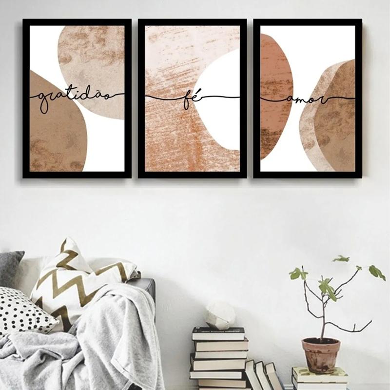 Conjunto 3 Quadros Decorativos Gratidão Em Tons De Laranja