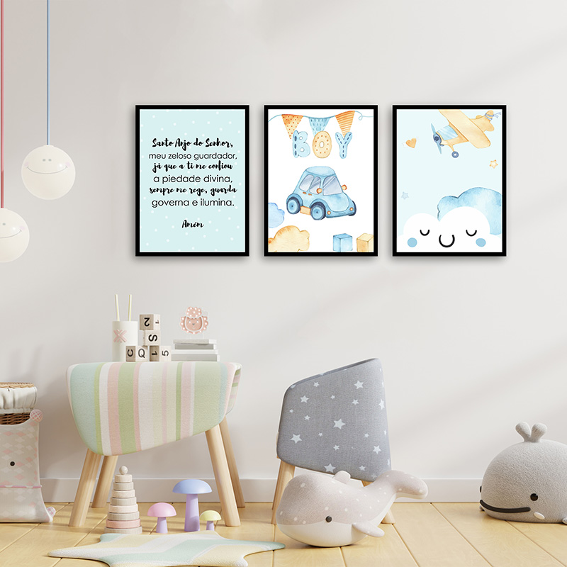Conjunto 3 Quadros Decorativos Infantis Oração