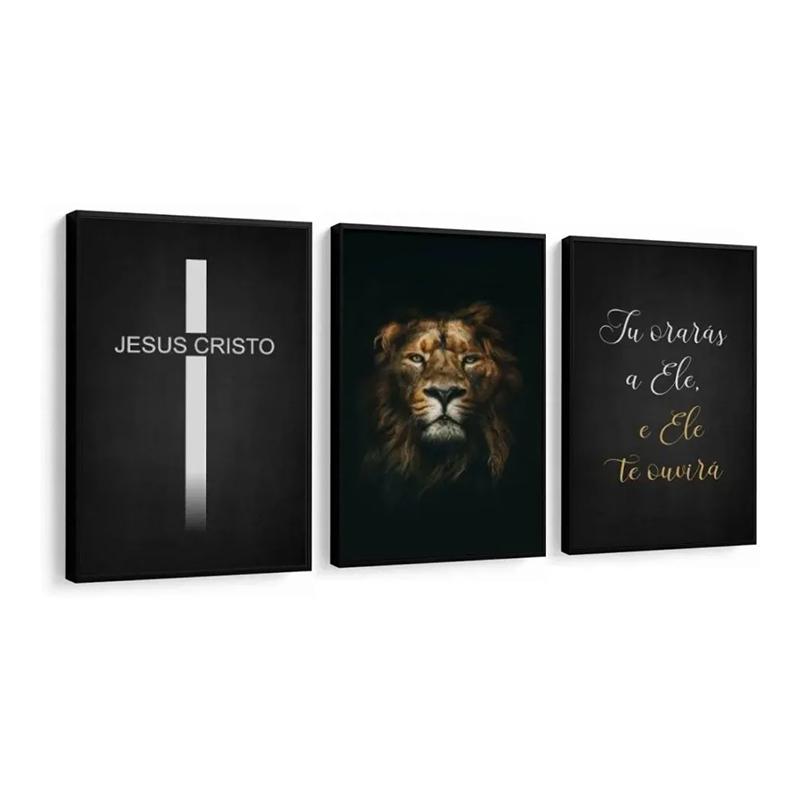 Conjunto 3 Quadros Decorativos Jesus Cristo