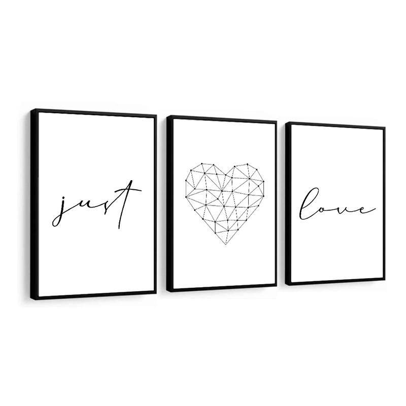 Conjunto 3 Quadros Decorativos Just Love