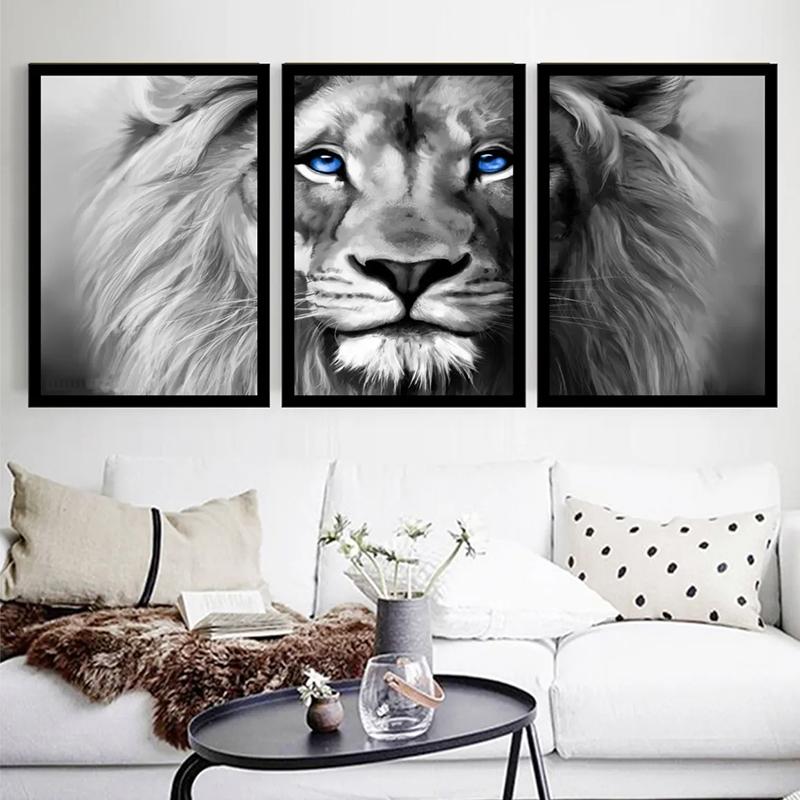 Conjunto 3 Quadros Decorativos Leão